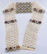 18CT GOLD PLATINUM RUBY DIAMOND PEARL CHOKER NECKLACE