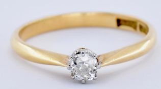 18CT GOLD AND DIAMOND OLD CUSHION CUT SET RING