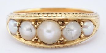 ANTIQUE 18CT GOL D AND HALF PEARL RING