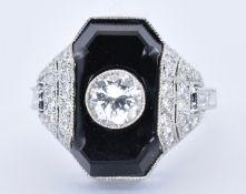 PLATINUM, ONYX AND DIAMOND ART DECO DRESS RING
