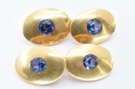 A PAIR OF 18CT GOLD AND SAPPHIRE CUFFLINKS