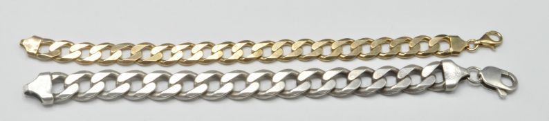 PAIR OF STAMPED 925 SILVER MENS CURB CHAIN BRACELETS.