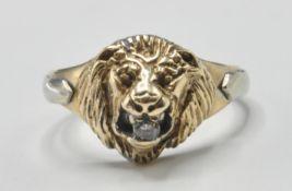 9CT GOLD HALLMARKED LIONS HEAD RING