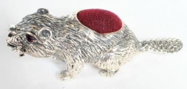 STAMPED 925 SILVER BEAVER PIN CUSHION.