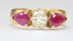 22CT GOLD THREE STONE DIAMOND AND RUBY RING