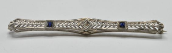 ANTIQUE WHITE GOLD DIAMOND AND SAPPHIRE BAR BROOCH