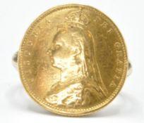 VICTORIAN HALF SOVEREIGN COIN RING