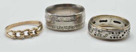 9CT GOLD HALLMARKED PIERCED KEEPERS RING & SILVER RINGS