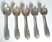 COLLECTION OF FIVE ANTIQUE GEORGIAN IRISH STERLING SILVER SPOONS