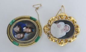 TWO 19TH CENTURY VICTORIAN GILT SWIVEL BROOCHES