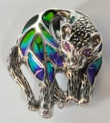 STAMPED 925 SILVER PLIQUE A JOUR AND MARCASITE CAT BROOCH.