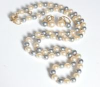 SILVER AND PEARL DEMI PARURE JEWELLERY SET