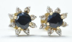 PAIR OF SAPPHIRE DIAMOND & GOLD STUD EARRINGS