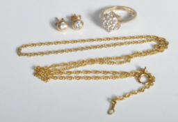 GROUP OF 9CT GOLD AND CZ JEWELLERY