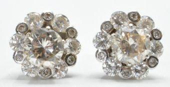 PAIR OF DIAMOND CLUSTER STUD EARRINGS