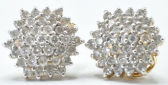 18CT AND DIAMOND CLUSTER EARRINGS