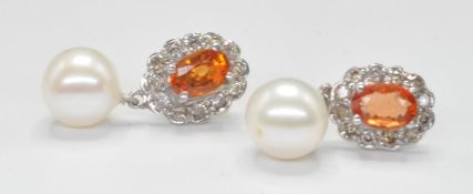 PAIR OF GOLD CITRINE, DIAMOND AND PEARL DROP EARRINGS