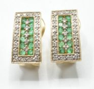 14CT GOLD DIAMOND AND GREEN STONE PANEL EARRINGS