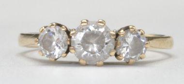9CT GOLD AND THREE WHITE STONE RING