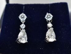 PAIR OF 18CT WHITE GOLD 2.4CT DIAMOND EARRINGS