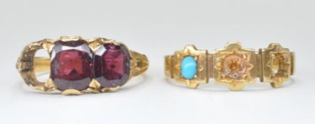 TWO ANTIQUE VICTORIAN GOLD RINGS