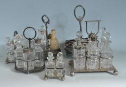 18TH CENTURY AND 19TH CENTURY SILVER PLATED AND CUT GRLASS CRUET SETS