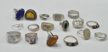 COLLECTION OF STAMPED 925 SILVER RINGS.
