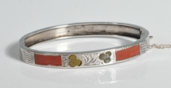 VICTORIAN 19TH CENTURY SILVER RESIN SET BANGLE
