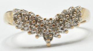 9CT GOLD AND DIAMOND WISHBONE RING
