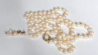 VINTAGE CULTURED PEARL NECKLACE AND EARRINGS