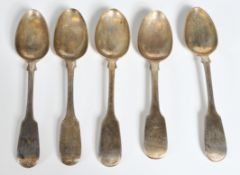 GROUP OF FIVE 19TH CENTURY VICTORIAN SILVER TEASPOONS