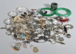 COLLECTION OF 20TH CENTURY SILVER 925 AND WHITE METAL COSTUME JEWELLERY