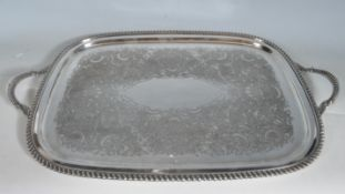 LARGE VINTAGE SILVER PLATE MERIDON SERVING TRAY.