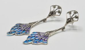 PAIR OF SILVER AND PLIQUE A JOUR EARRINGS