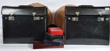 TWO VINTAGE 20TH CENTURY BLACK VINYL JEWELLERY CARRYING CASES