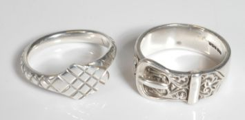 SILVER HALLMARKED SNAKE RING & BUCKLE RING
