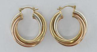 9CT GOLD THREE TONE HOOP EARRINGS