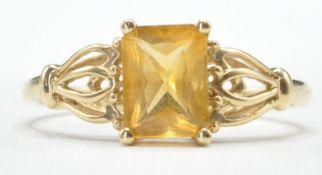 9CT GOLD AND YELLOW STONE RING