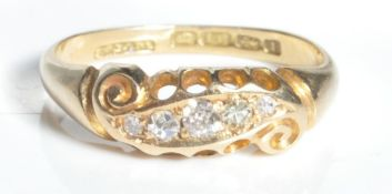 18CT GOLD AND DIAMOND 3 STONE GYPSY RING