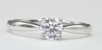 9CT WHITE GOLD SINGLE STONE CZ SOLITAIRE RING