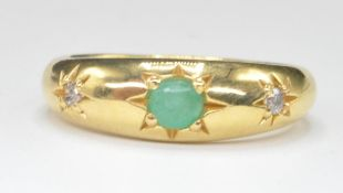 18CT GOLD EMERALD AND DIAMOND GYPSY RING