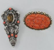 TWO 20TH CENTURY SILVER / WHITE METAL AND CORAL BROOCHES