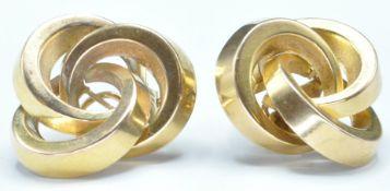 PAIR OF 9CT GOLD INTERLOCKING RING EARRINGS