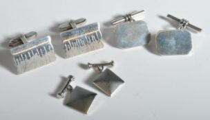 COLLECTION OF GENTLEMANS SILVER CUFFLINKS X 3 SETS
