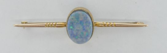 9CT GOLD AND OPAL DOUBLET BAR BROOCH CLIP