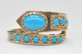 9CT GOLD AND TURQUOISE SET SNAKE / SERPENT RING