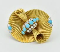 18CT GOLD TURQUOISE & DIAMOND CARTIER BROOCH CLIP