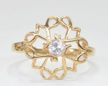 9CT GOLD HALLMARKED CUT OUT CZ HALO STYLE RING