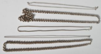 COLLECTION OF 5 SILVER NECKLACE CHAINS