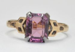 9CT GOLD AND AMETHYST CUSHION CUT RING
